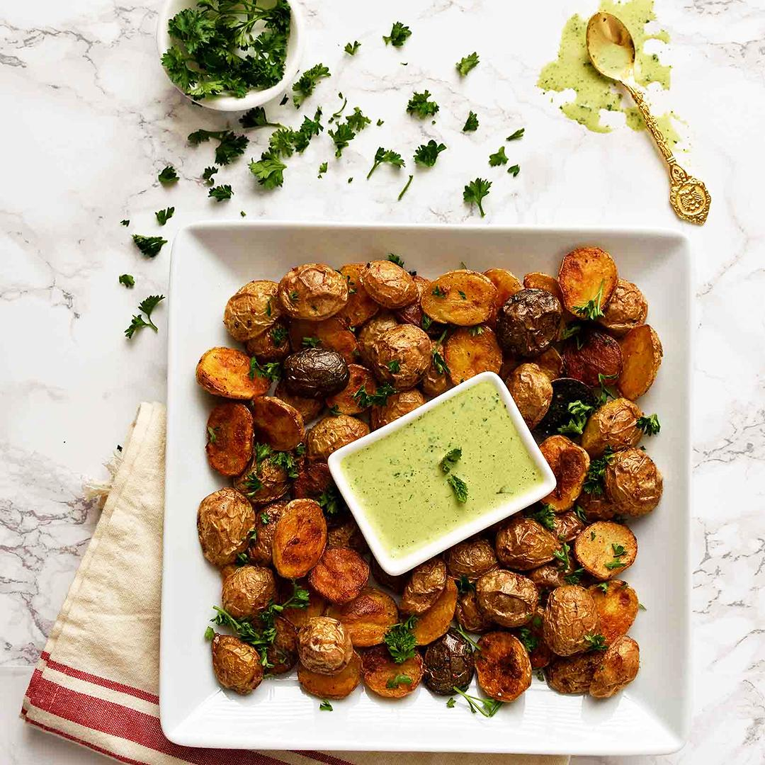 Roasted Baby Potatoes with Mint Tahini Sauce