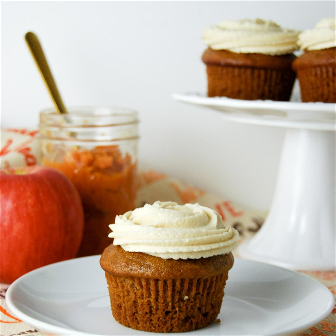 Pumpkin Apple Cupcakes with Brown Sugar Buttercream