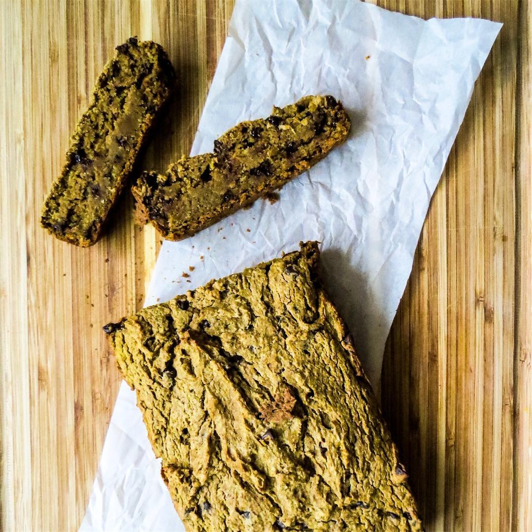 Pumpkin Chocolate Chip Bread {Gluten Free + Vegan}