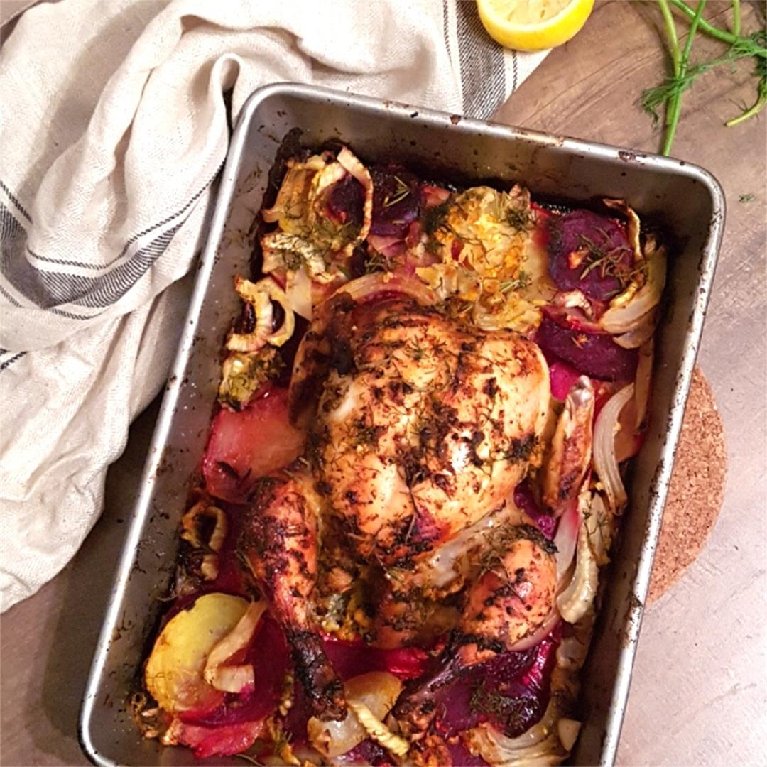 Citrus & Dill Roasted Chicken on Veggies