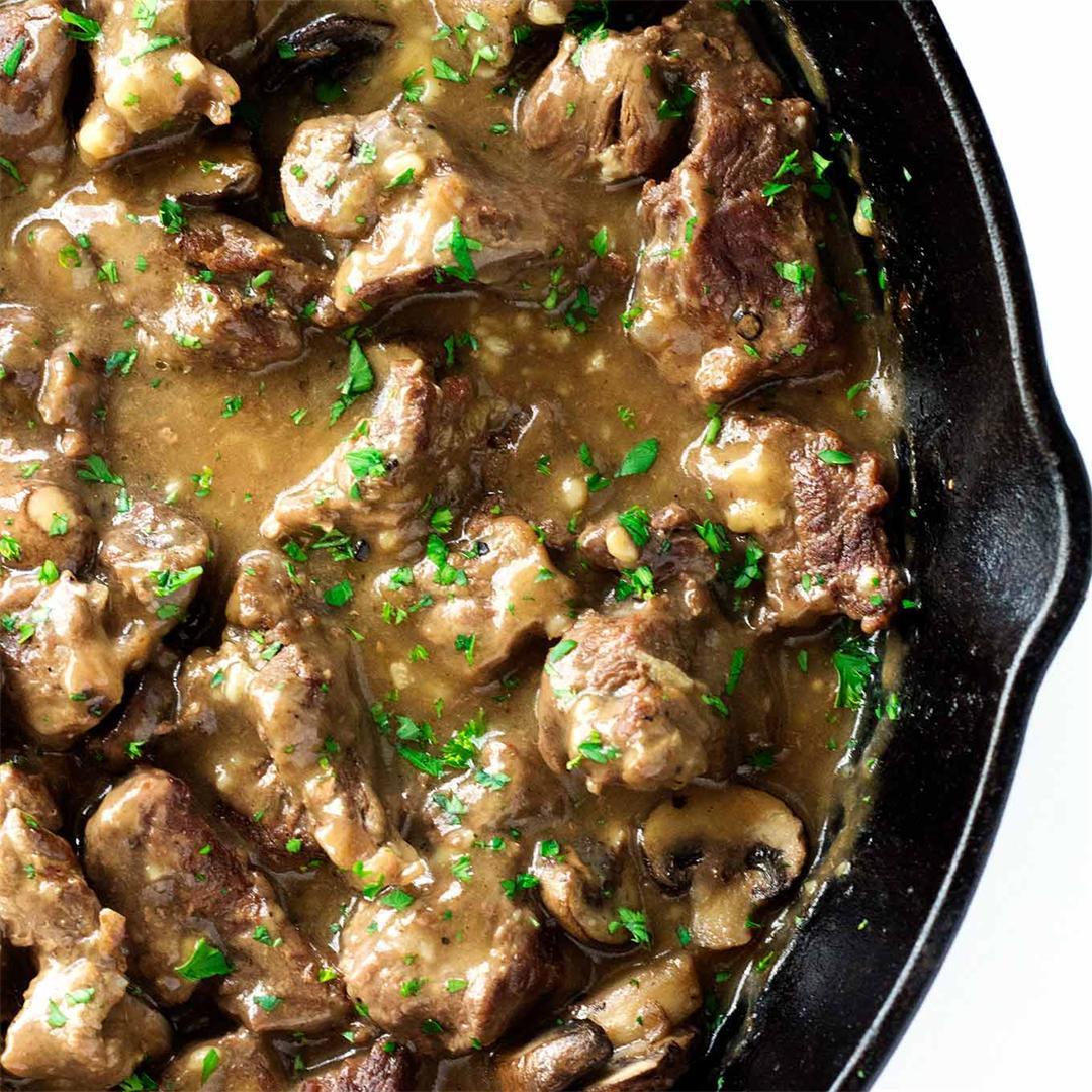 Beef Tips In Mushroom Gravy