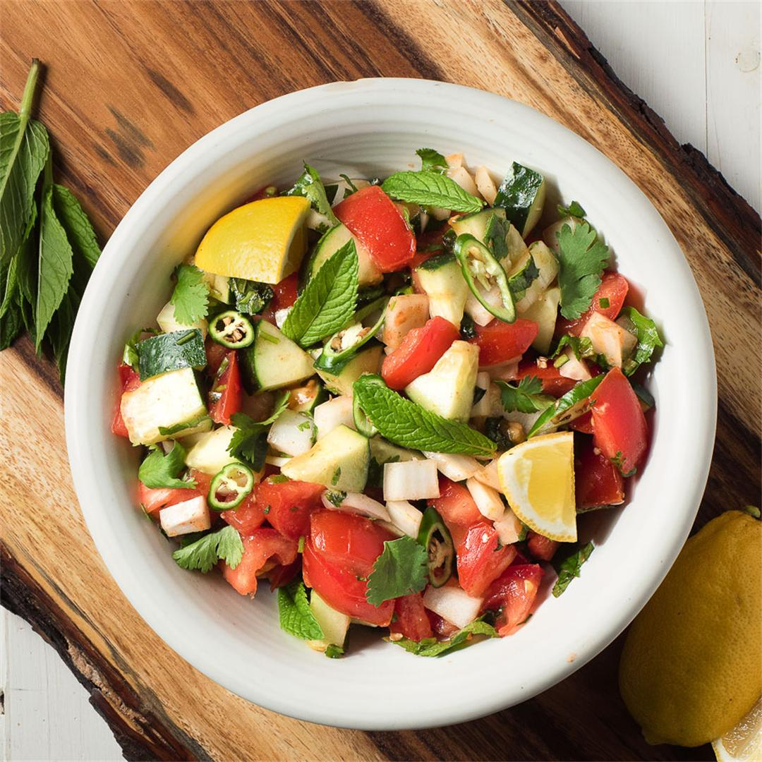 Spicy Indian Tomato and Cucumber Salad