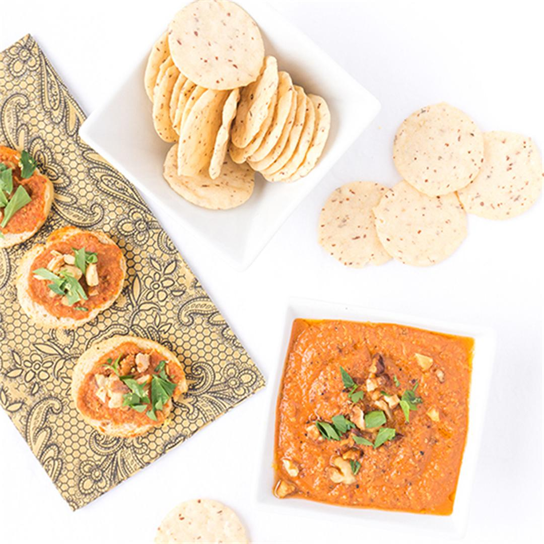 Spiced Roasted Red Pepper Walnut Dip