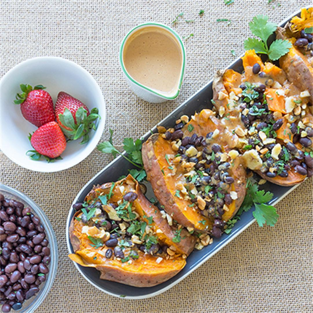 Stuffed Sweet Potatoes with Peanut Sauce and Black Beans