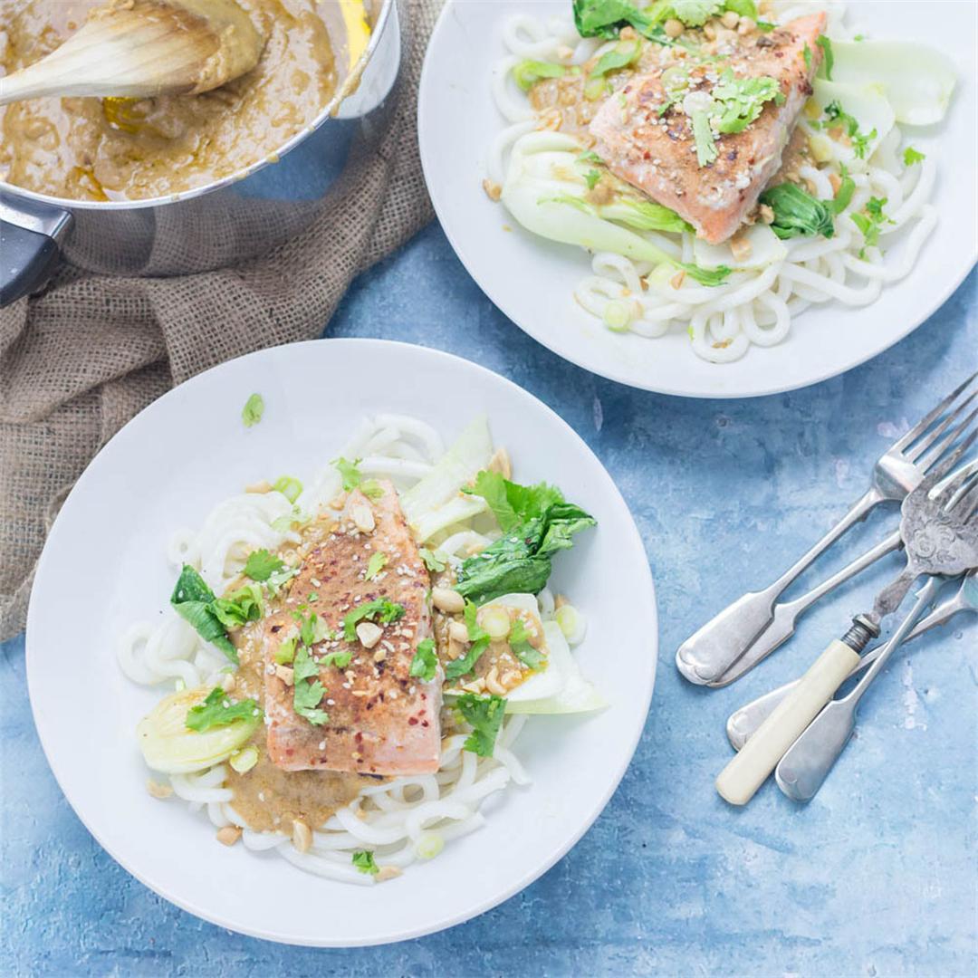Peanut Salmon Noodles with Pak Choi