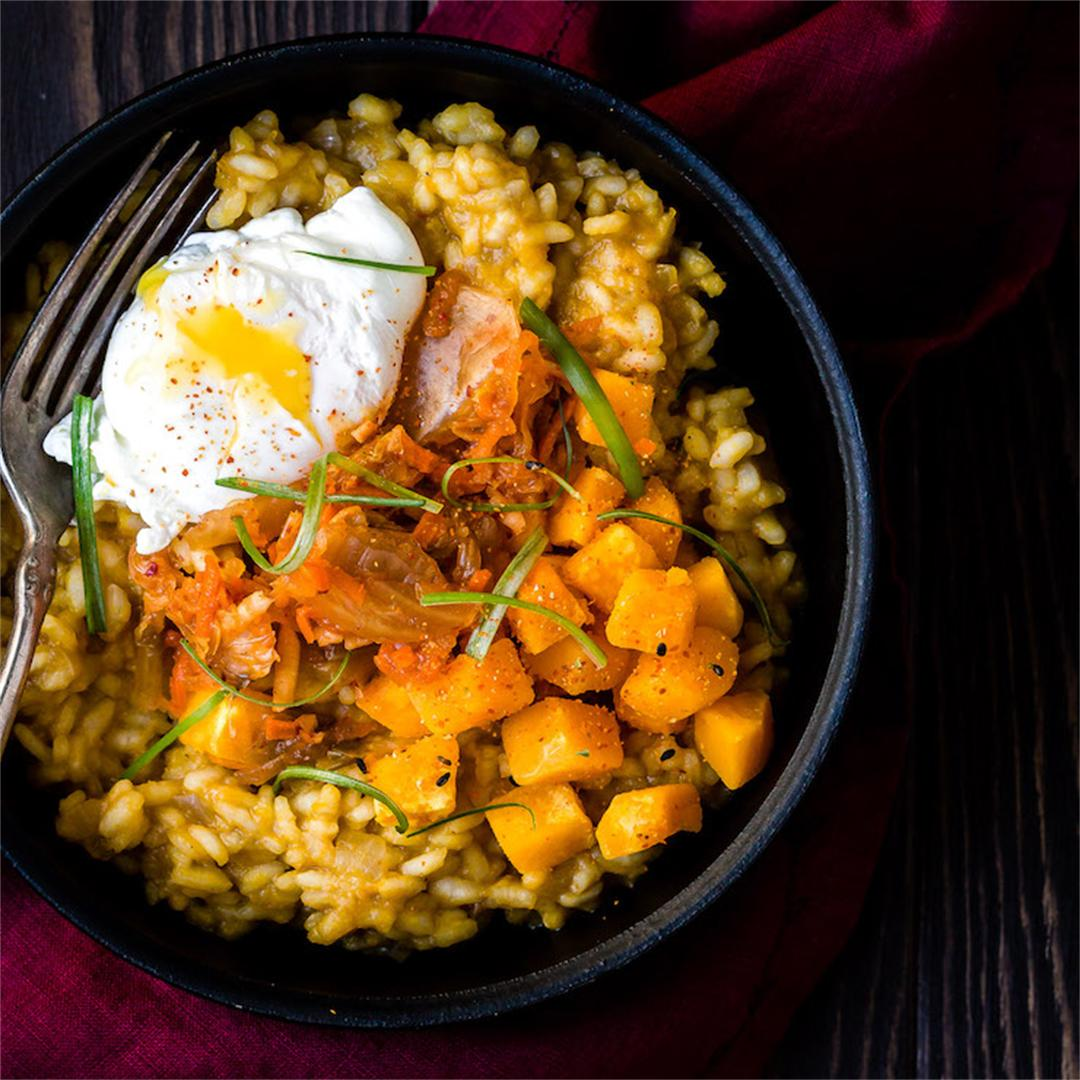 Kabocha Squash Risotto with Kimchi and Poached Egg