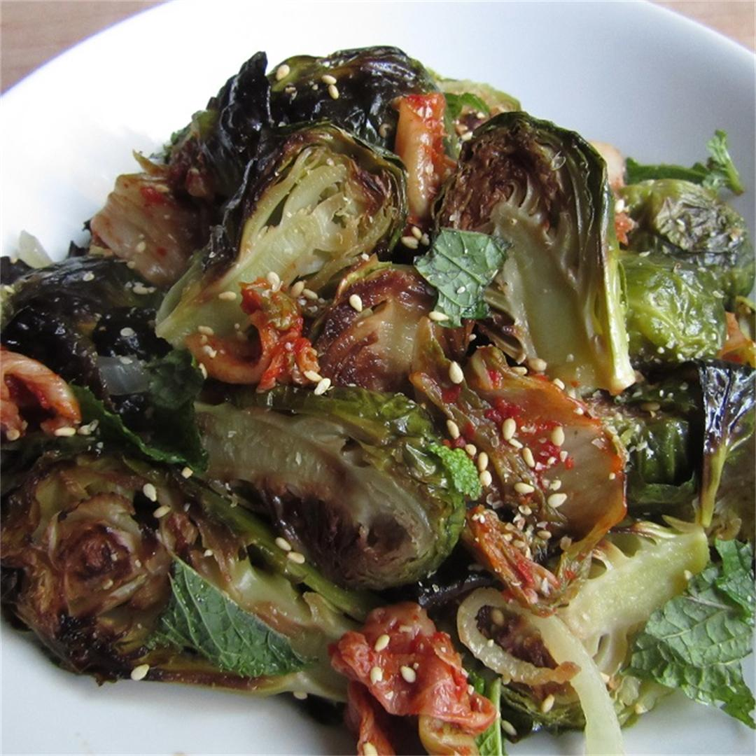 Roasted Brussels Sprouts with Kimchi and Ginger