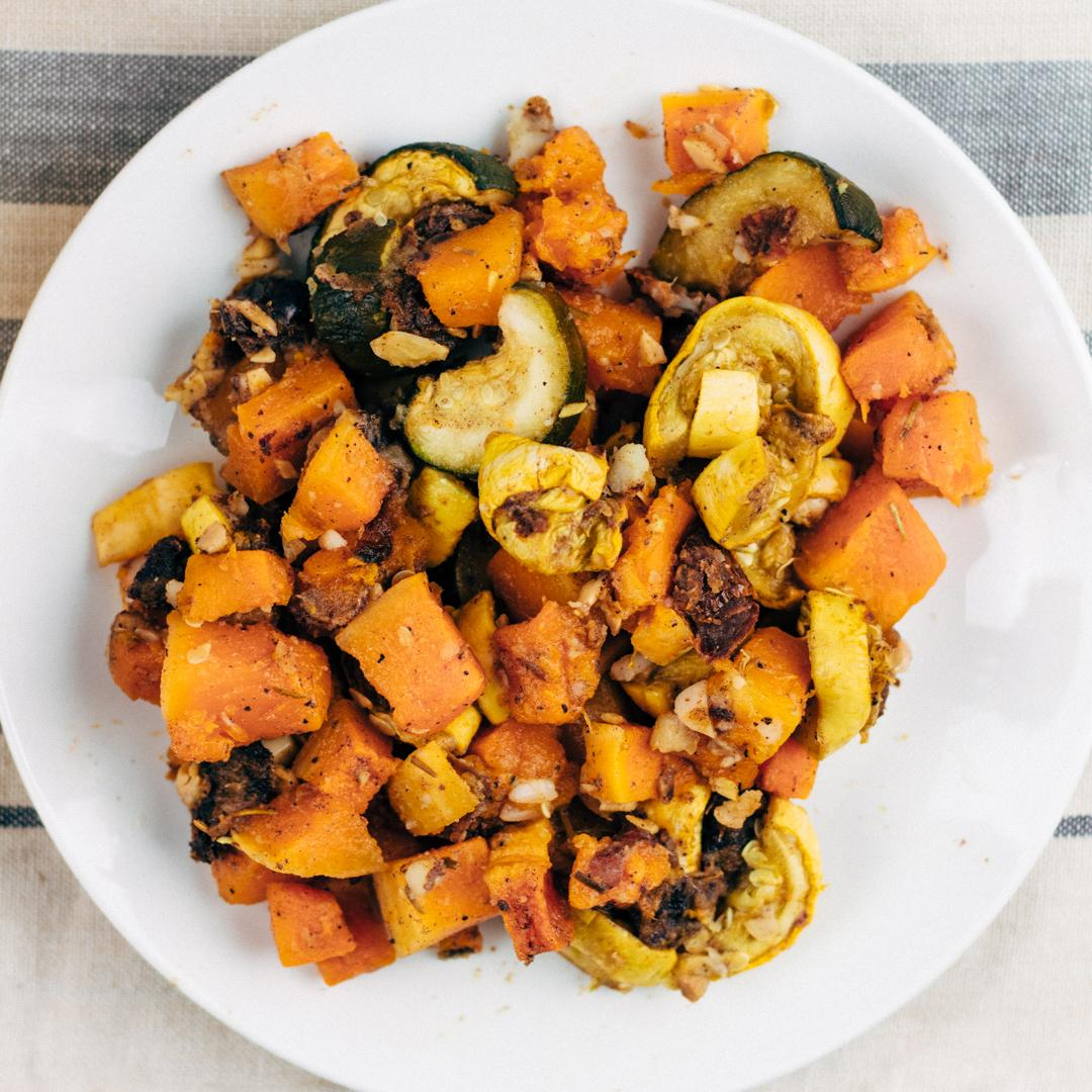 Roasted Butternut Squash with Zucchini and Yellow Squash