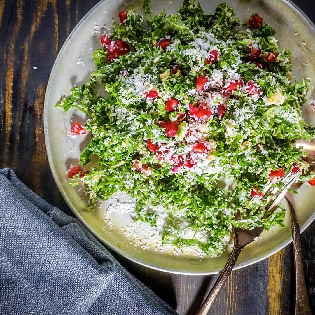 Kale, Pomegranate and orange Sambol