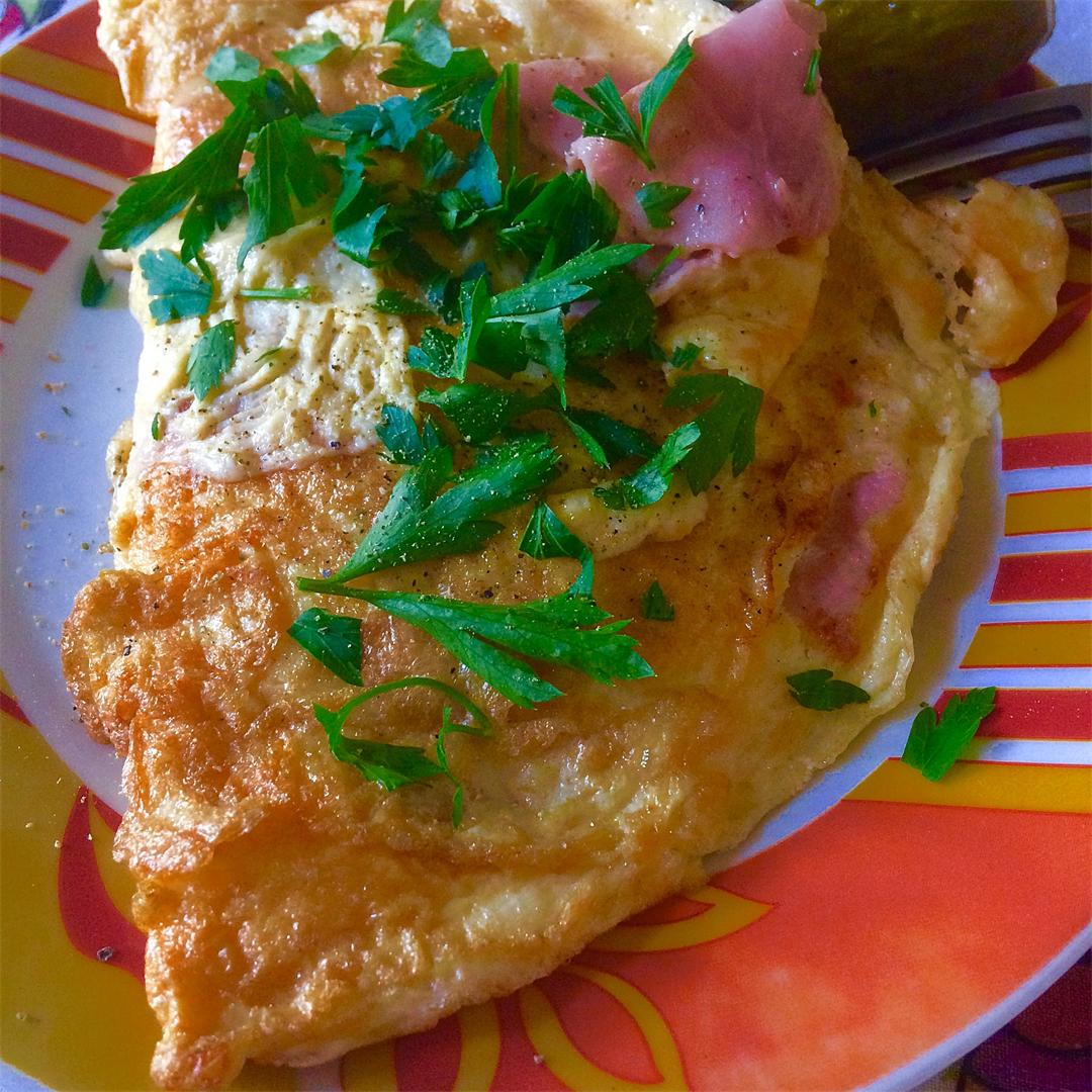 Pickle me: Omelette with ham, cheese and green peppercorns
