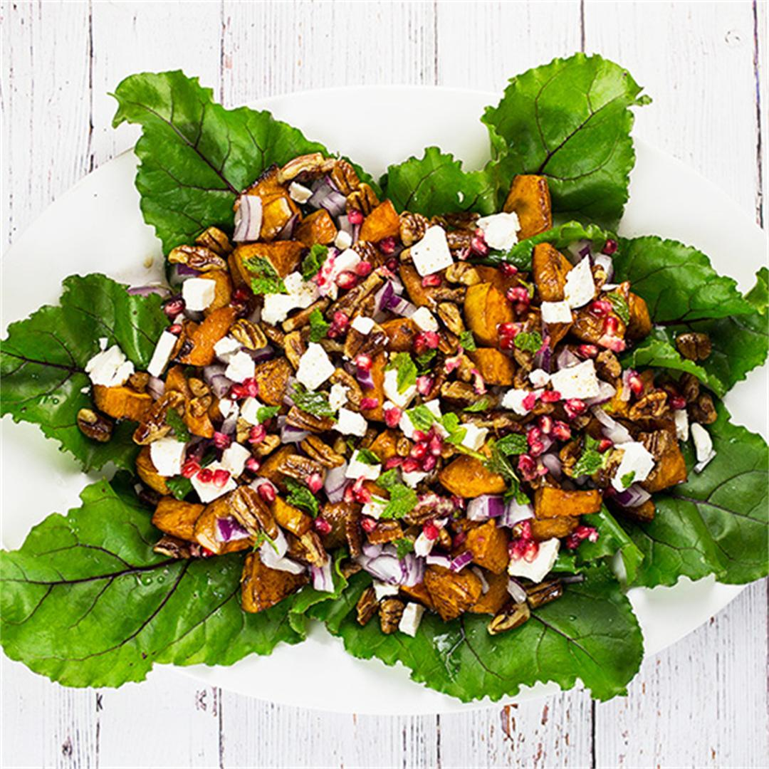 Cinnamon Sweet Potato Salad with Feta, Pomegranate & Pecans