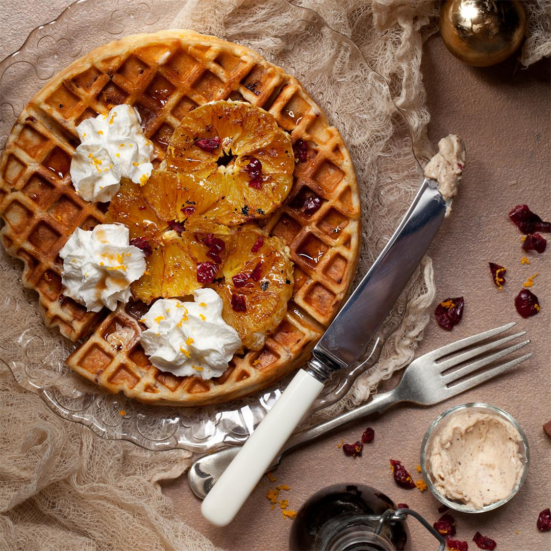 Cranberry Orange Waffles & Cinnamon Whipped Butter