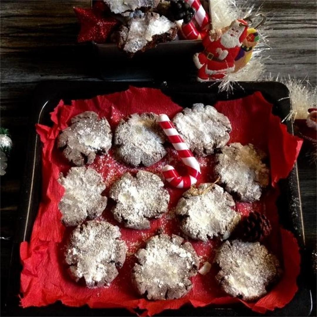 Chocolate Coffee Snowy Cookies- Christmas Special