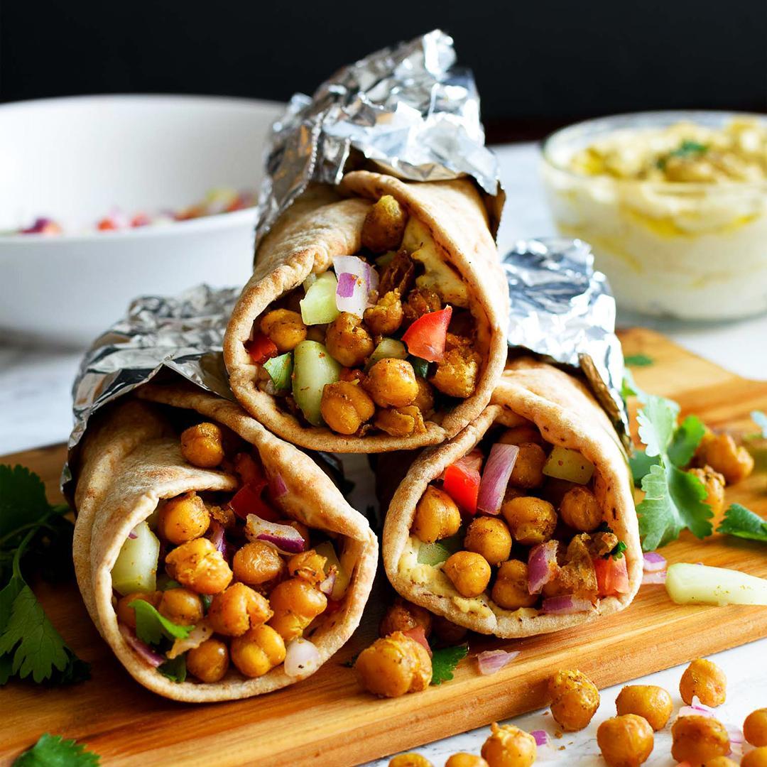 Roasted Chickpeas Hummus Wrap