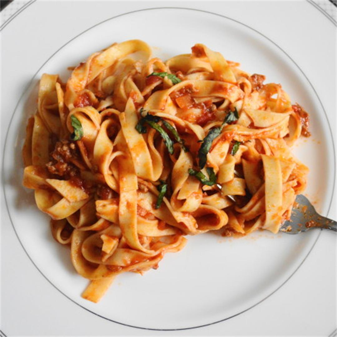 Spiced Lamb Ragu over Fresh Mint Fettuccine