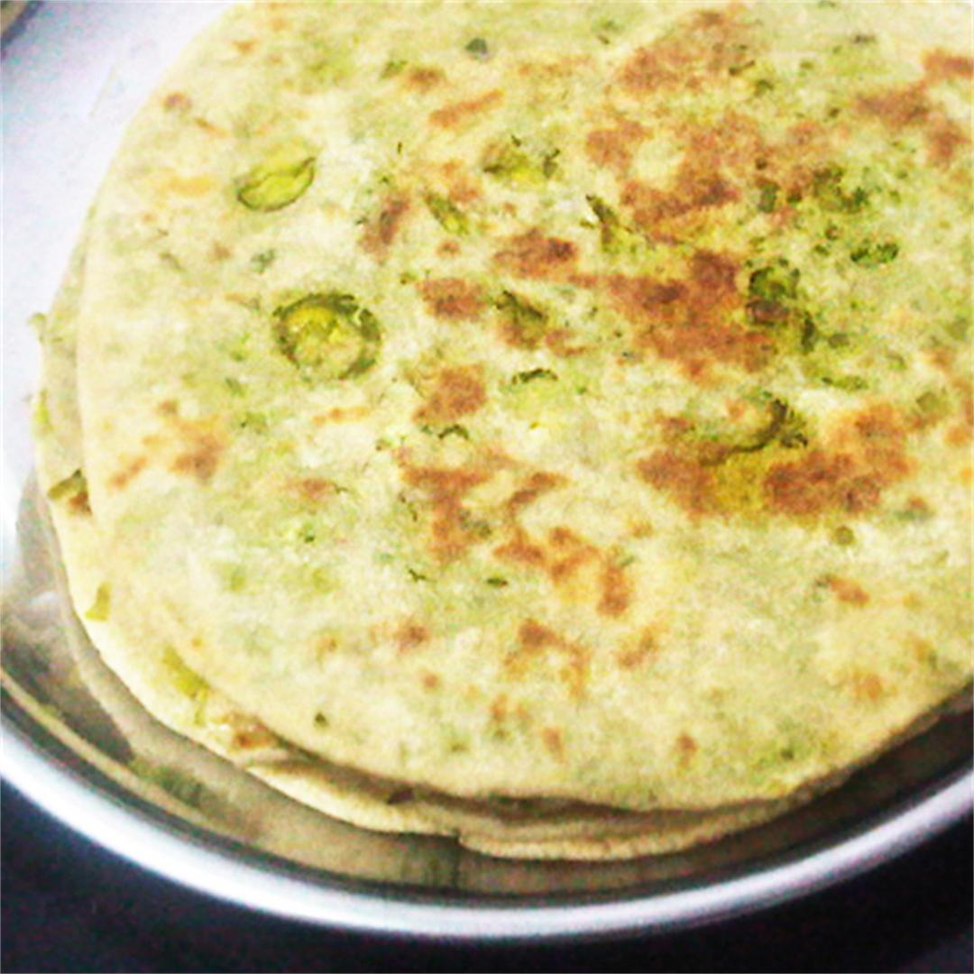 Peas Paratha: Pan-Fried Stuffed Flatbread