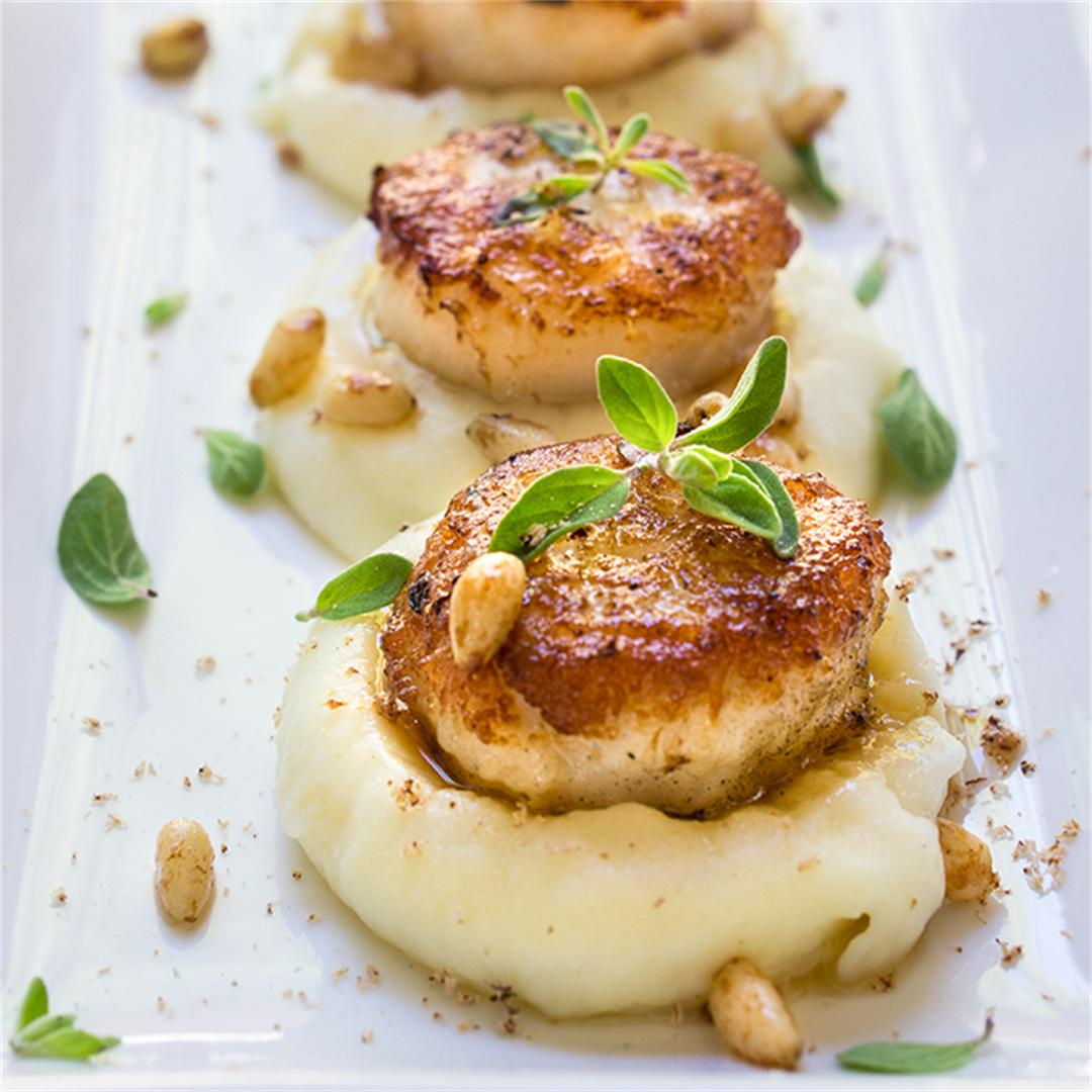 Seared scallops over parsnip puree