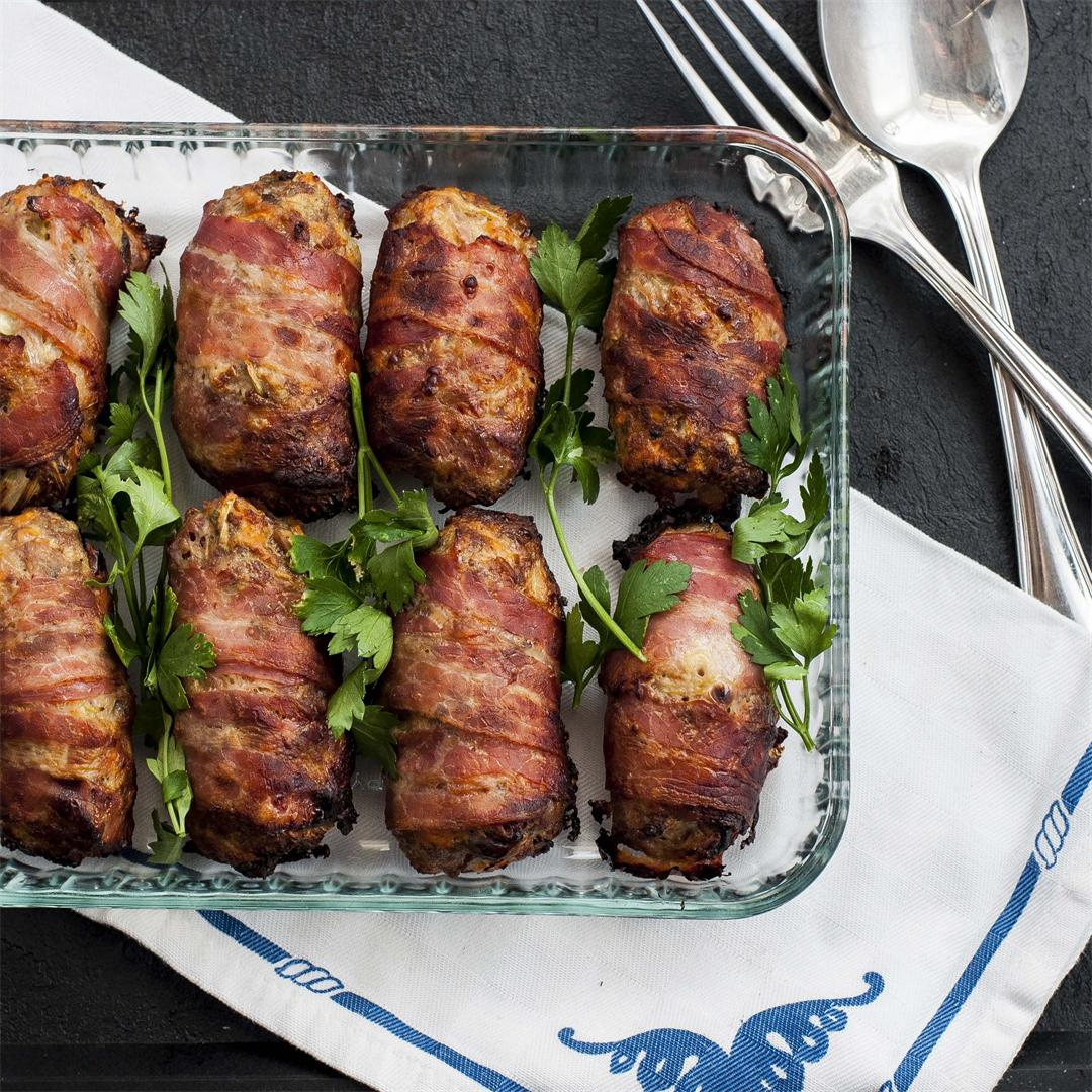 Sausagemeat and Chestnut Stuffing Wrapped in Bacon