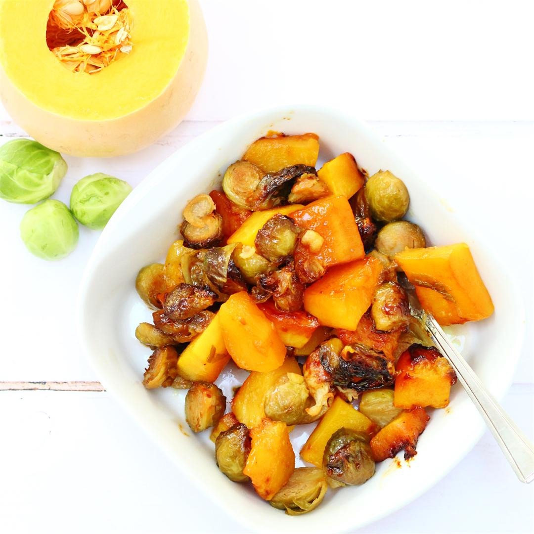 Honey mustard brussel sprouts and butternut squash