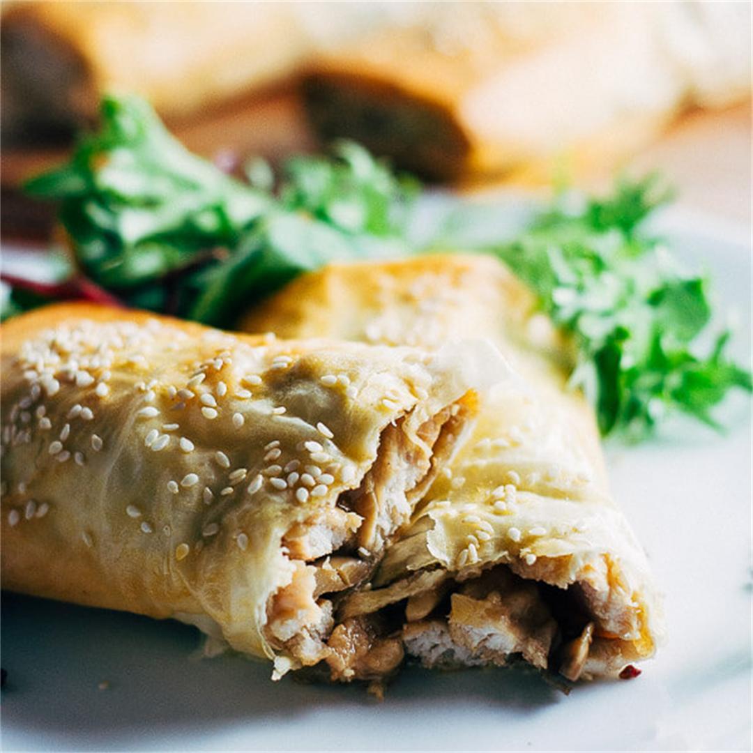 Healthy Chicken and Mushroom Filos