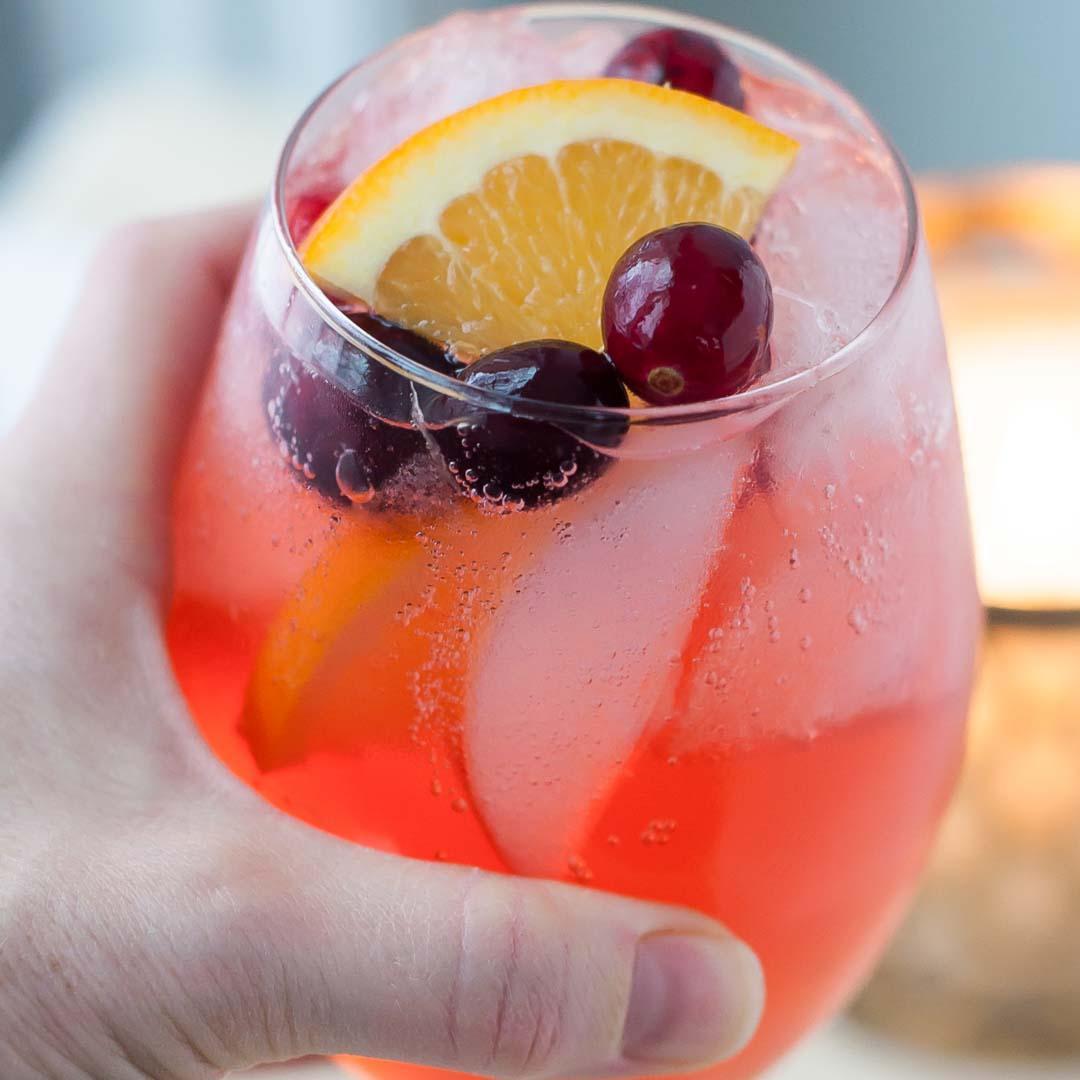 Sparkling Cranberry Orange Vodka Cocktail