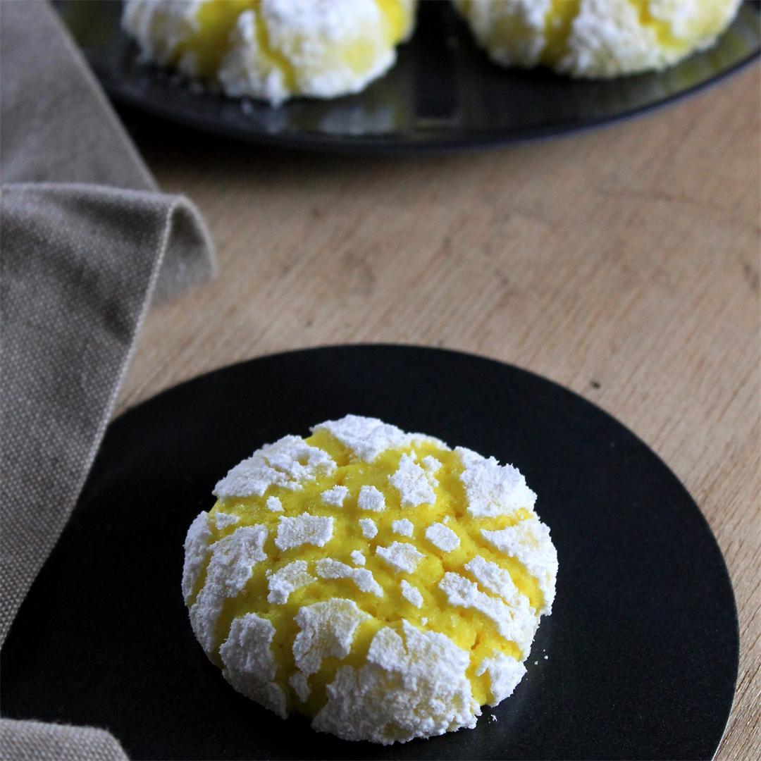 Eggless Lemon Crinkle Cookies