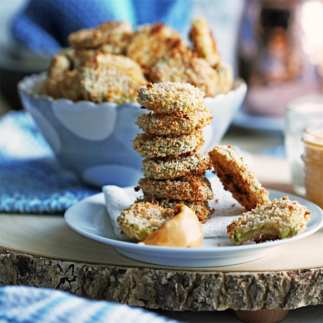 Oven-Fried Pickles with Cheddar Cheese Dip