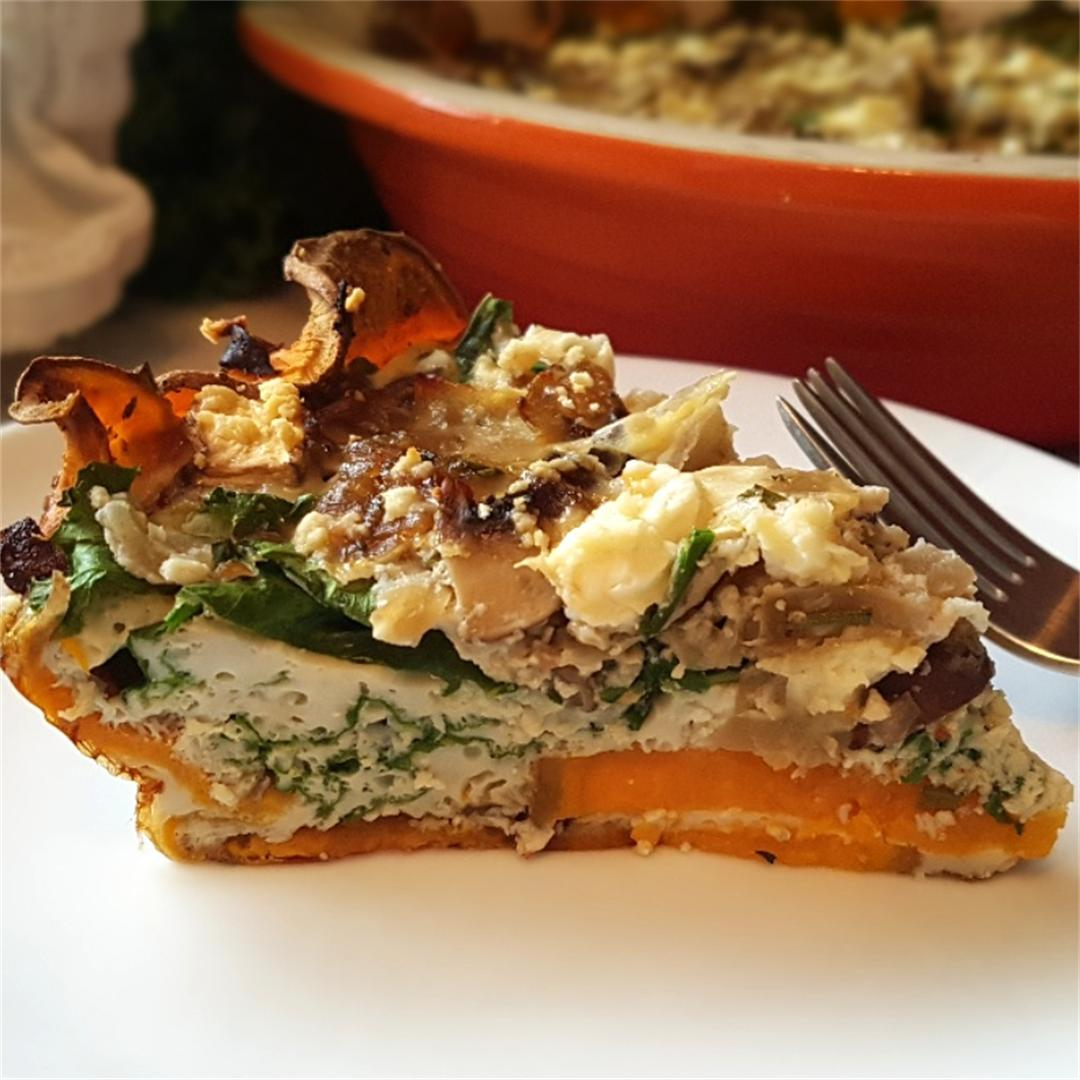 Herb Mushroom & Onion Quiche with a Sweet Potato Crust