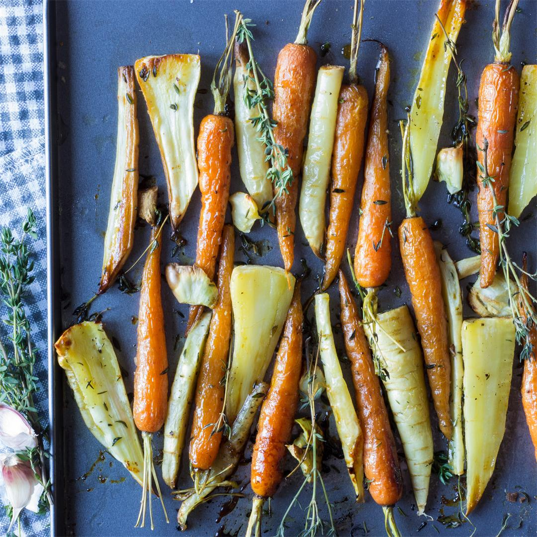 Deliciously glazed honey roast root vegetables