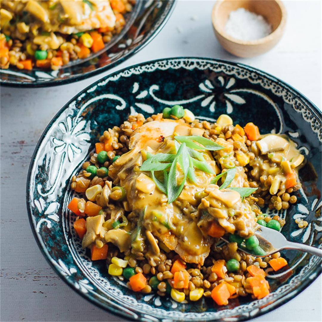 Creamy Garlic Mushroom Chicken with Lentil Salad