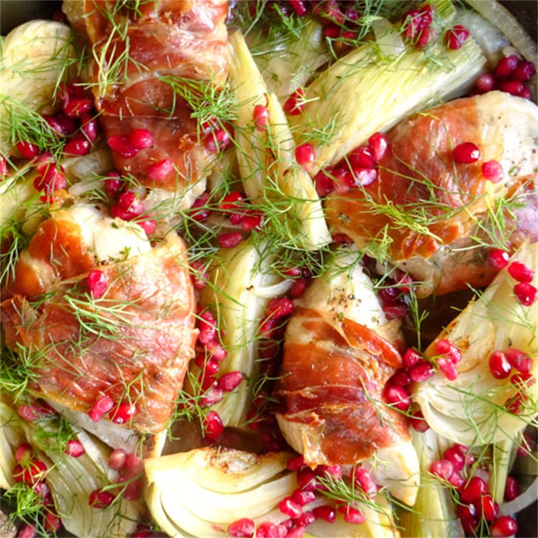 Prosciutto wrapped chicken with fennel, 30 min, one pot meal