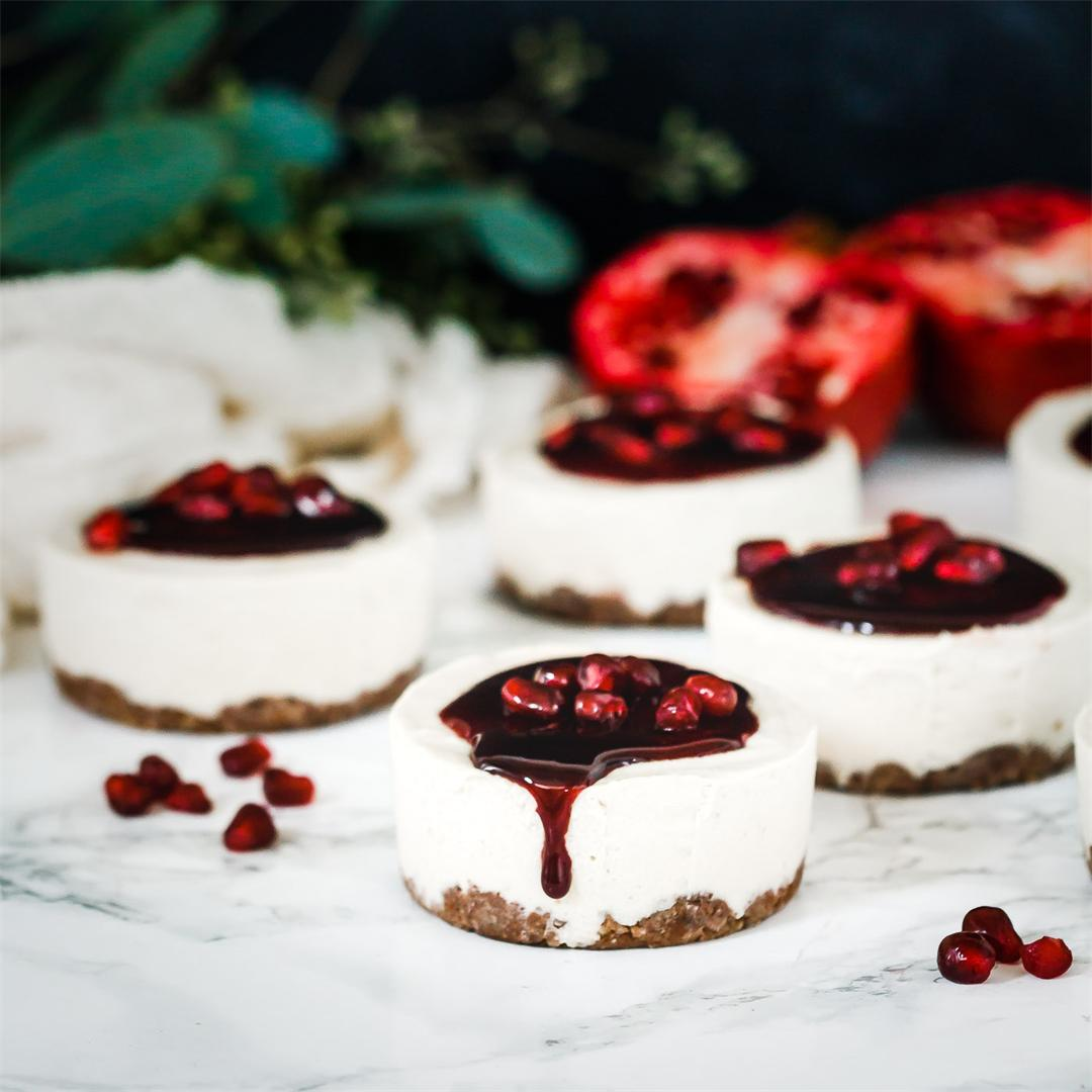 Vanilla Bean Pomegranate Mini Cheesecakes