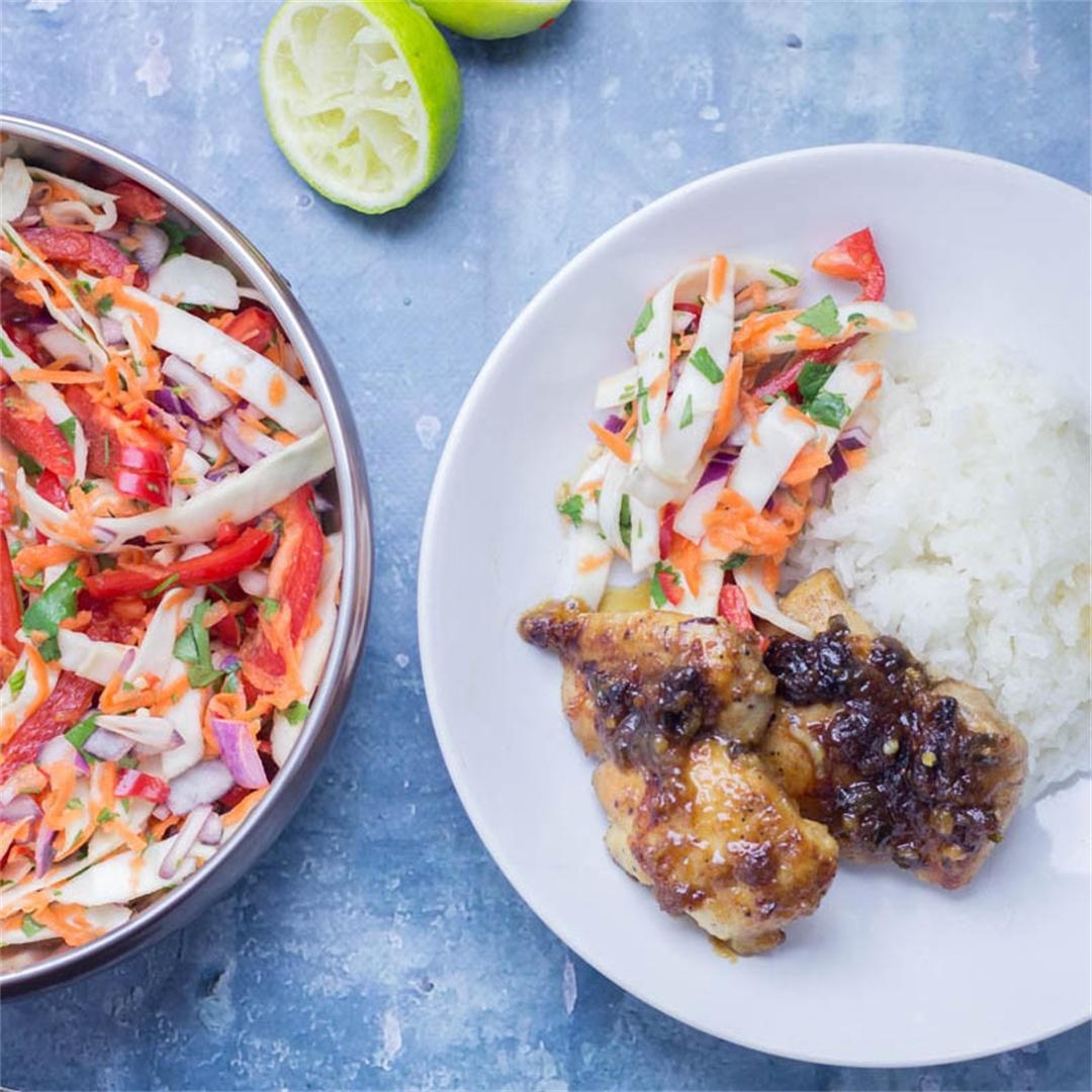 Sticky Thai Coconut Chicken Skillet with Asian Slaw