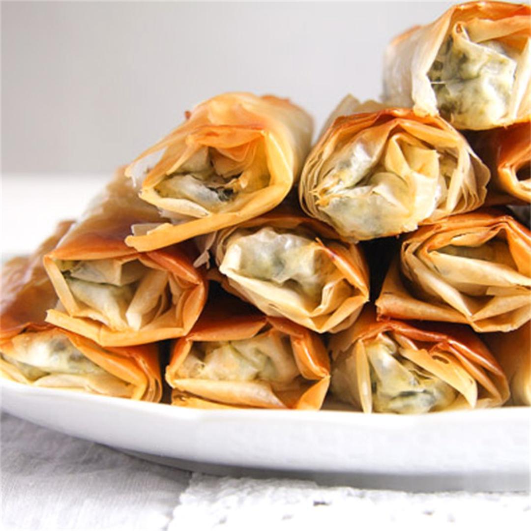 Crispy Albanian Spinach Rolls with Feta