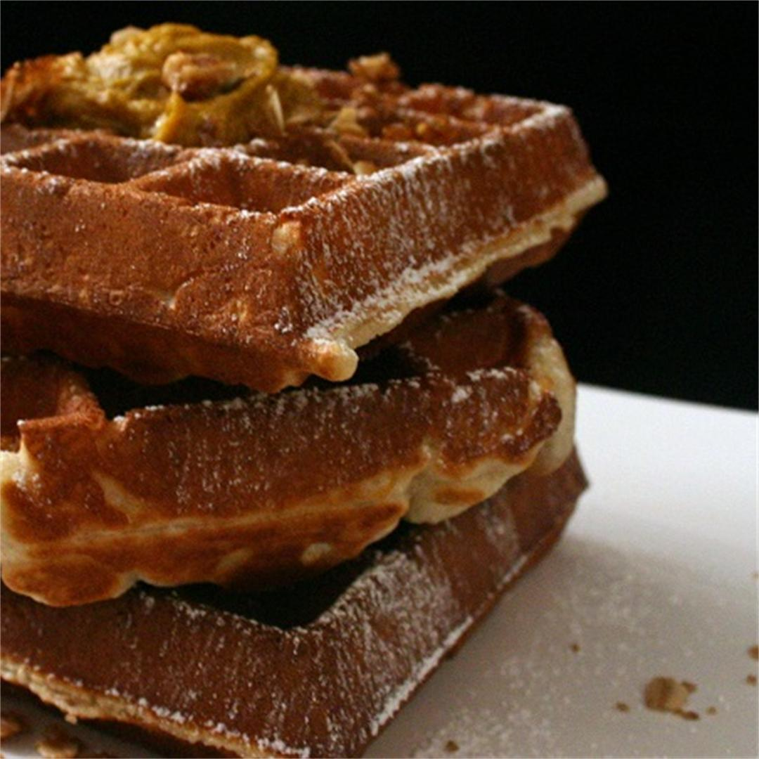 Waffles with Spiced Pumpkin Butter and Brown Sugar Walnut Crumb