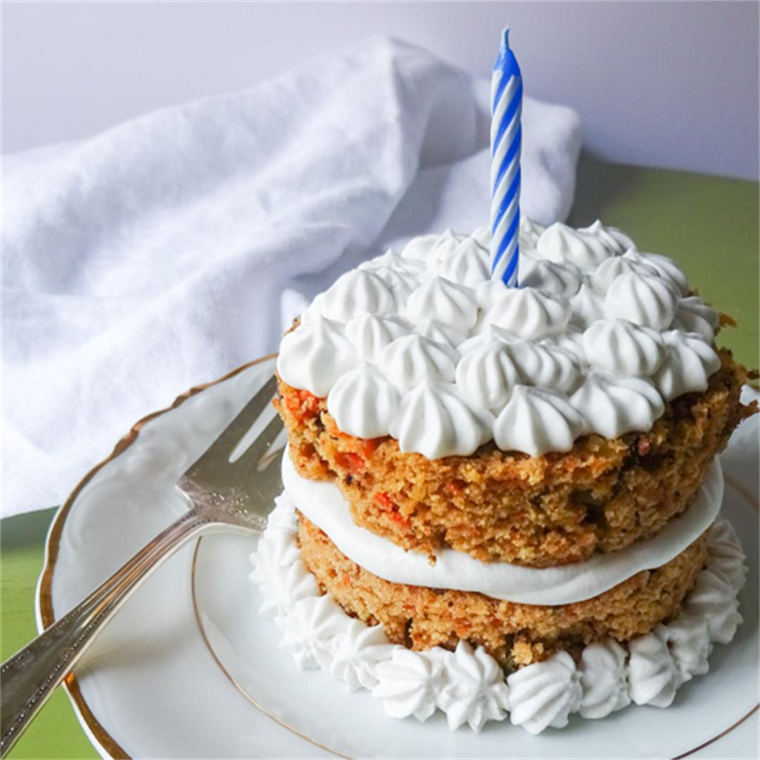 A healthier carrot cake with maple frosting.