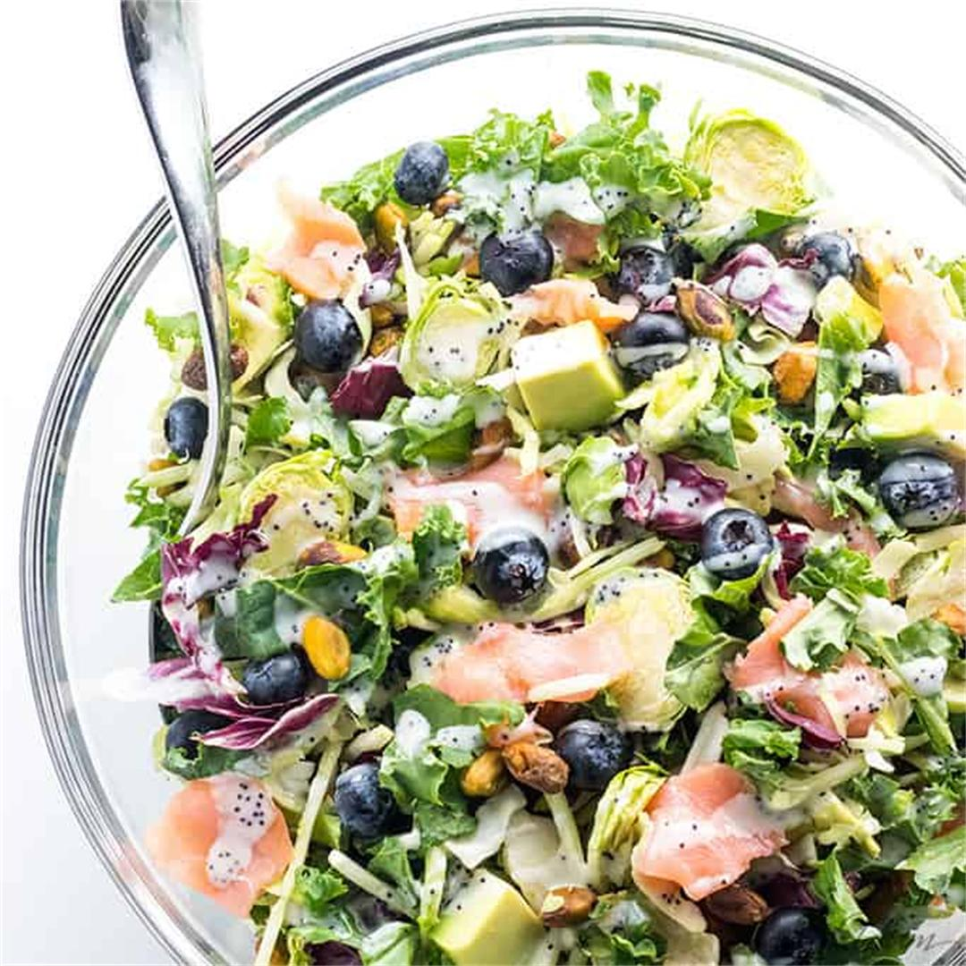Salmon Kale Superfood Salad Recipe W/ Creamy Lemon Vinaigrette