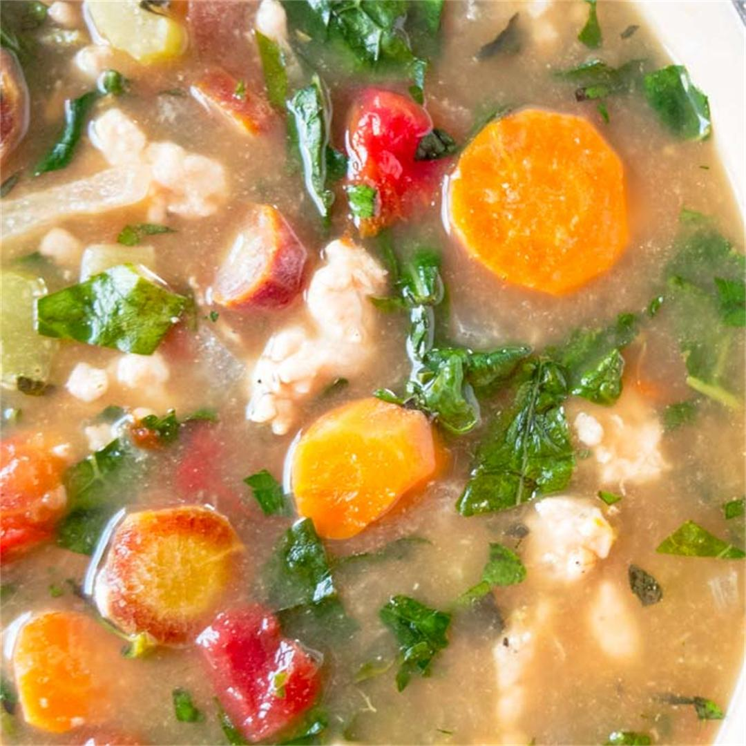 Healthy one pot turkey kale soup is loaded with veggies.