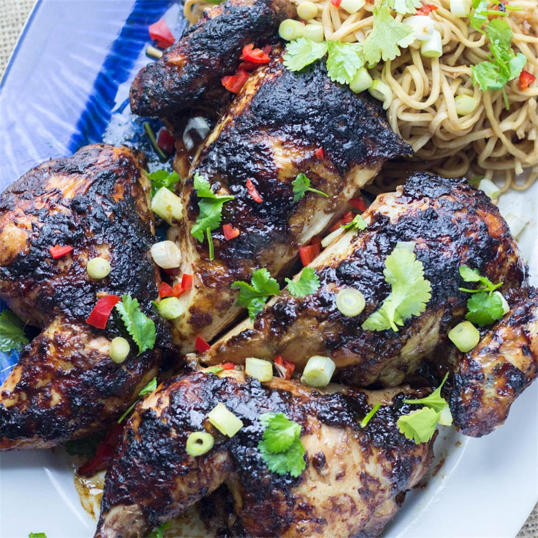Asian Roasted Spatchcock Chicken with Noodle Salad