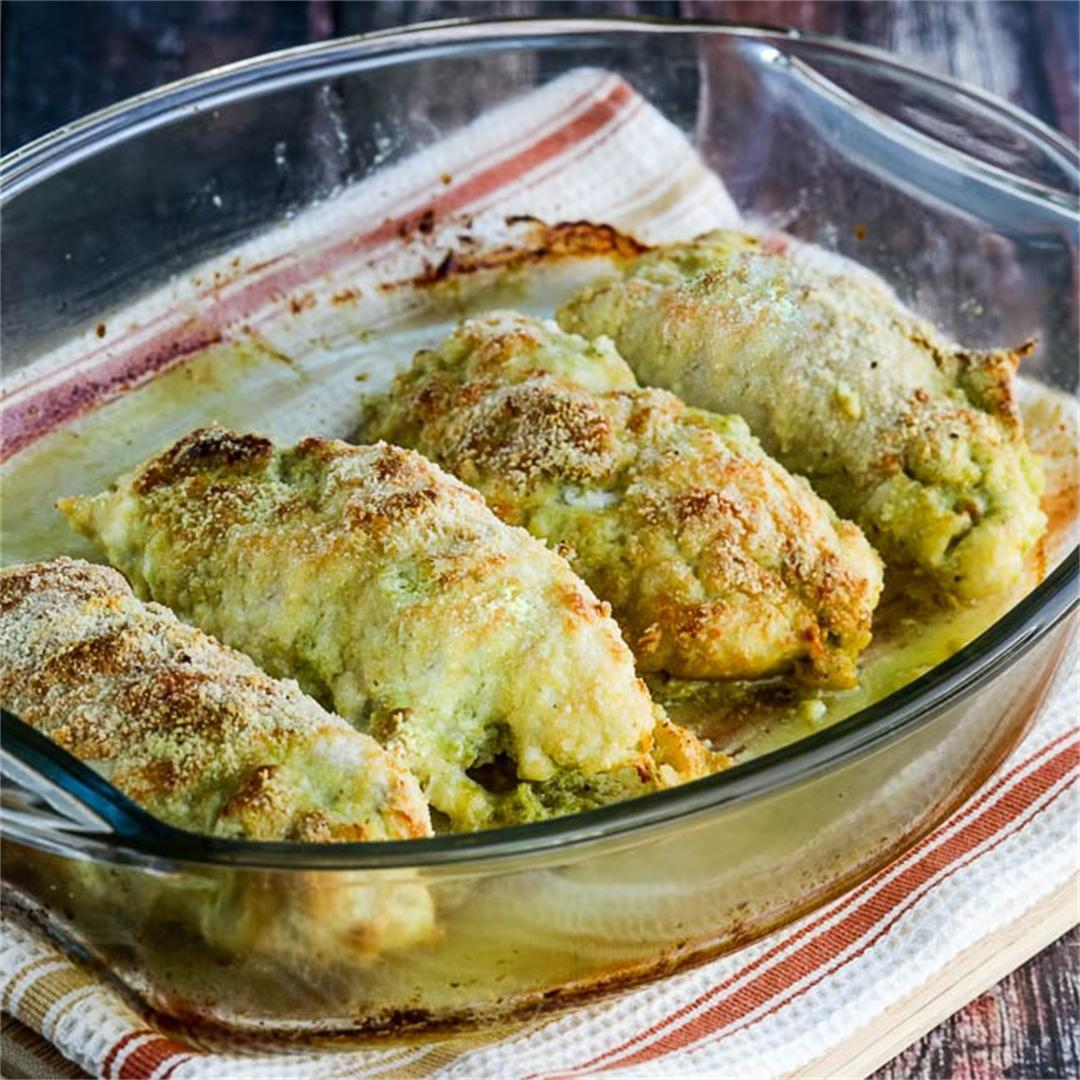 Low-Carb Baked Chicken Stuffed with Pesto and Cheese!