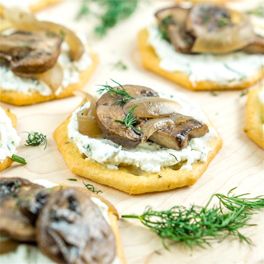 Whipped Feta and Truffled Mushrooms Appetizer.