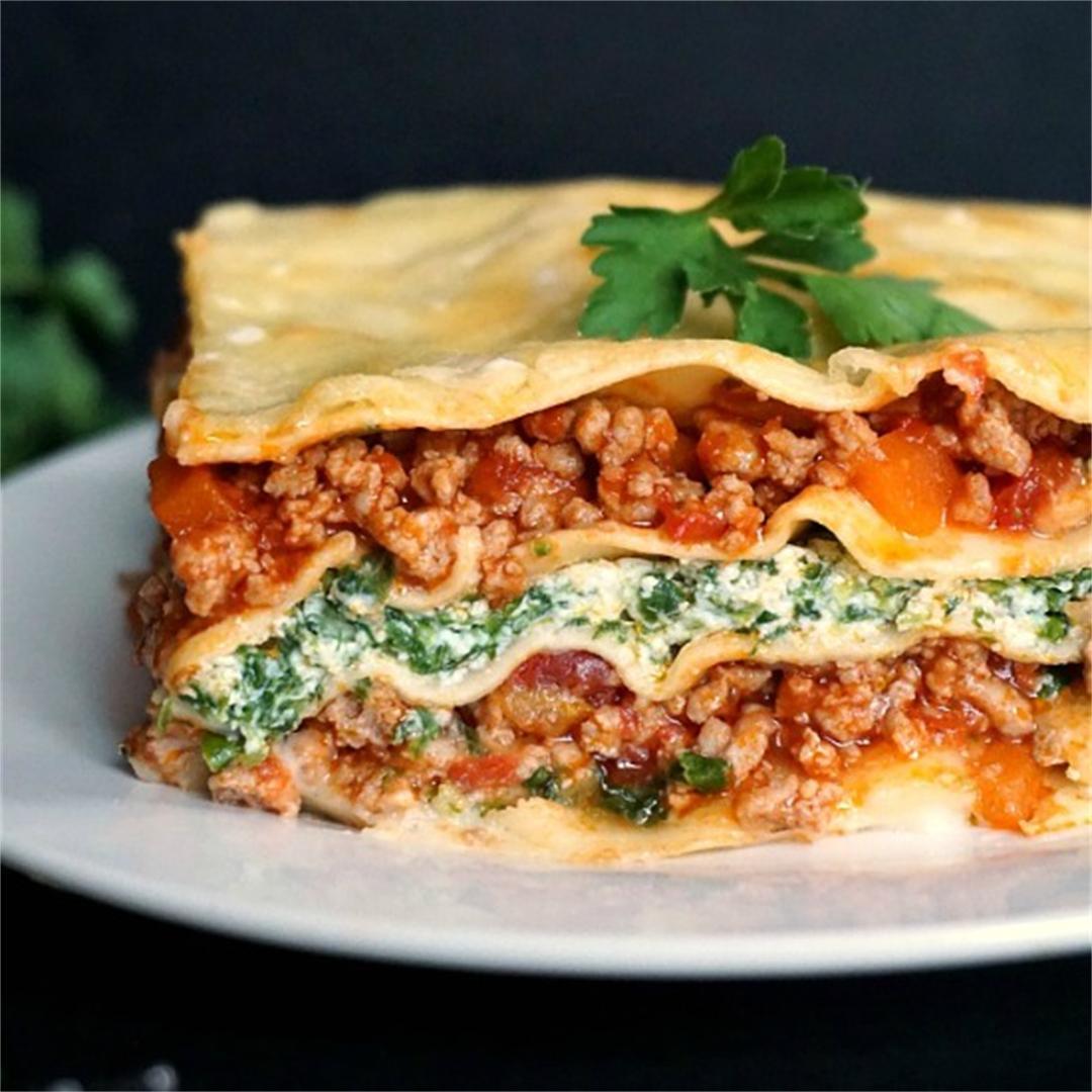 Turkey, Spinach and Ricotta Lasagna