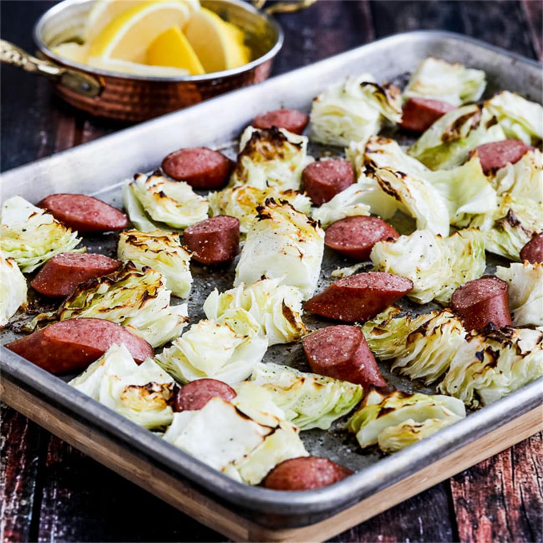 Low-Carb Roasted Lemon Cabbage and Sausage Sheet Pan Meal