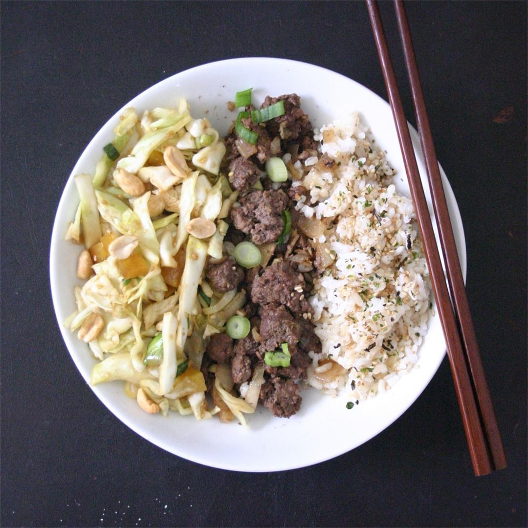 Beef Rice Bowls with Sesame Cabbage Slaw