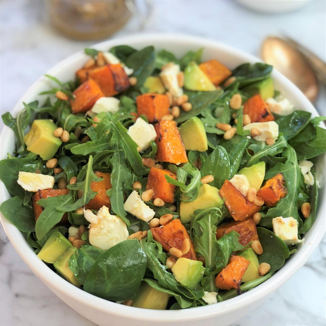 Pumpkin Avocado Feta Salad with Zingy Mustard Dressing