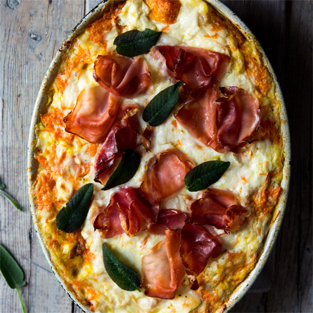 Butternut Squash Lasagna with Prosciutto, Goats Cheese & Sage