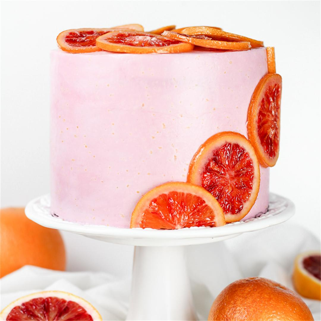 Blood Orange Poppy Seed Cake with Swiss Meringue Buttercream