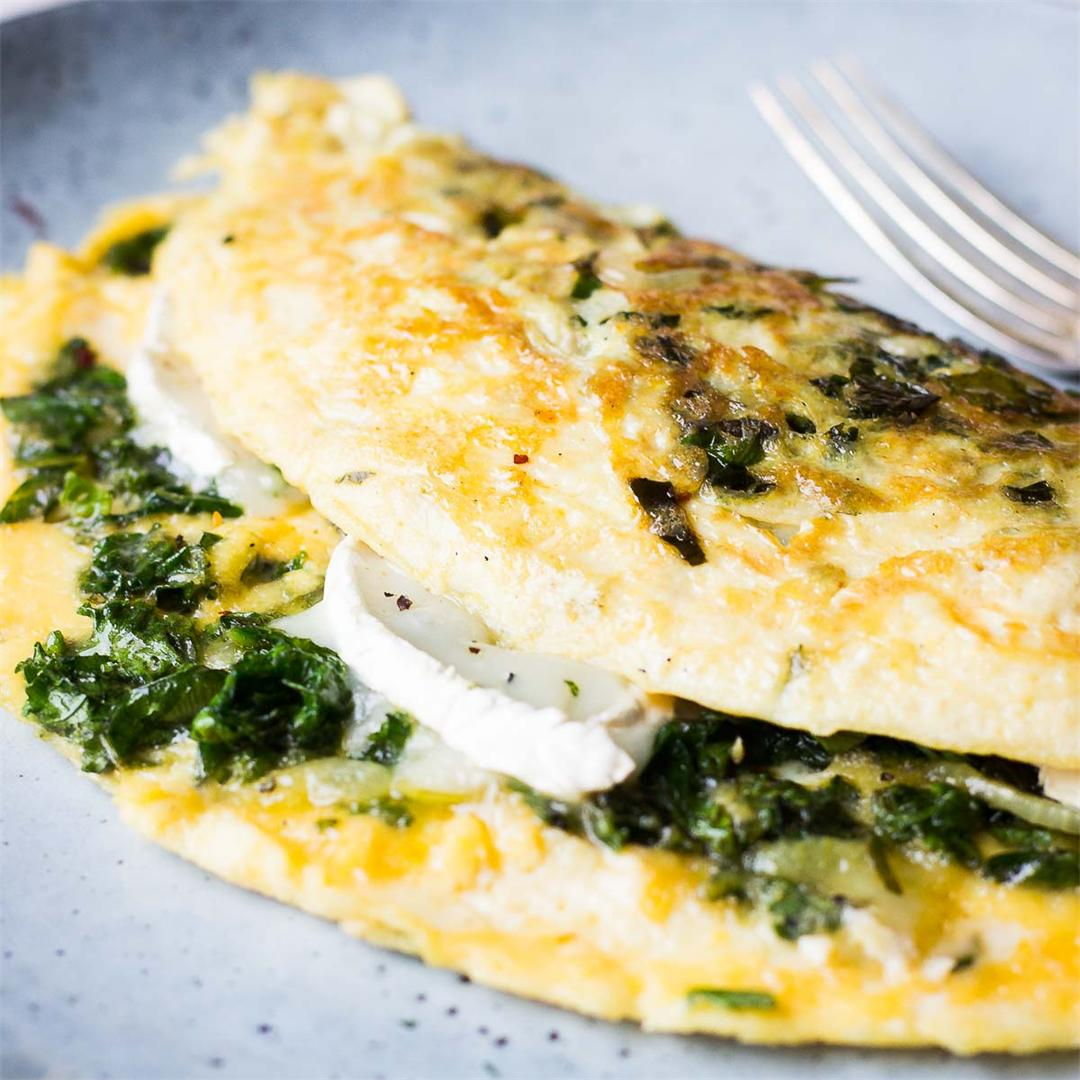 Kale Omelette with Goat Cheese