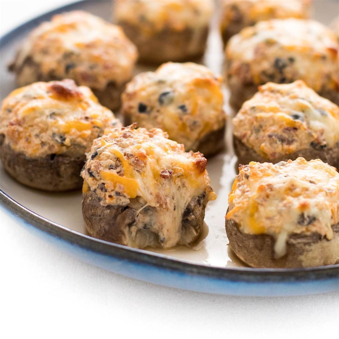 Bacon & Olive Stuffed Mushrooms!