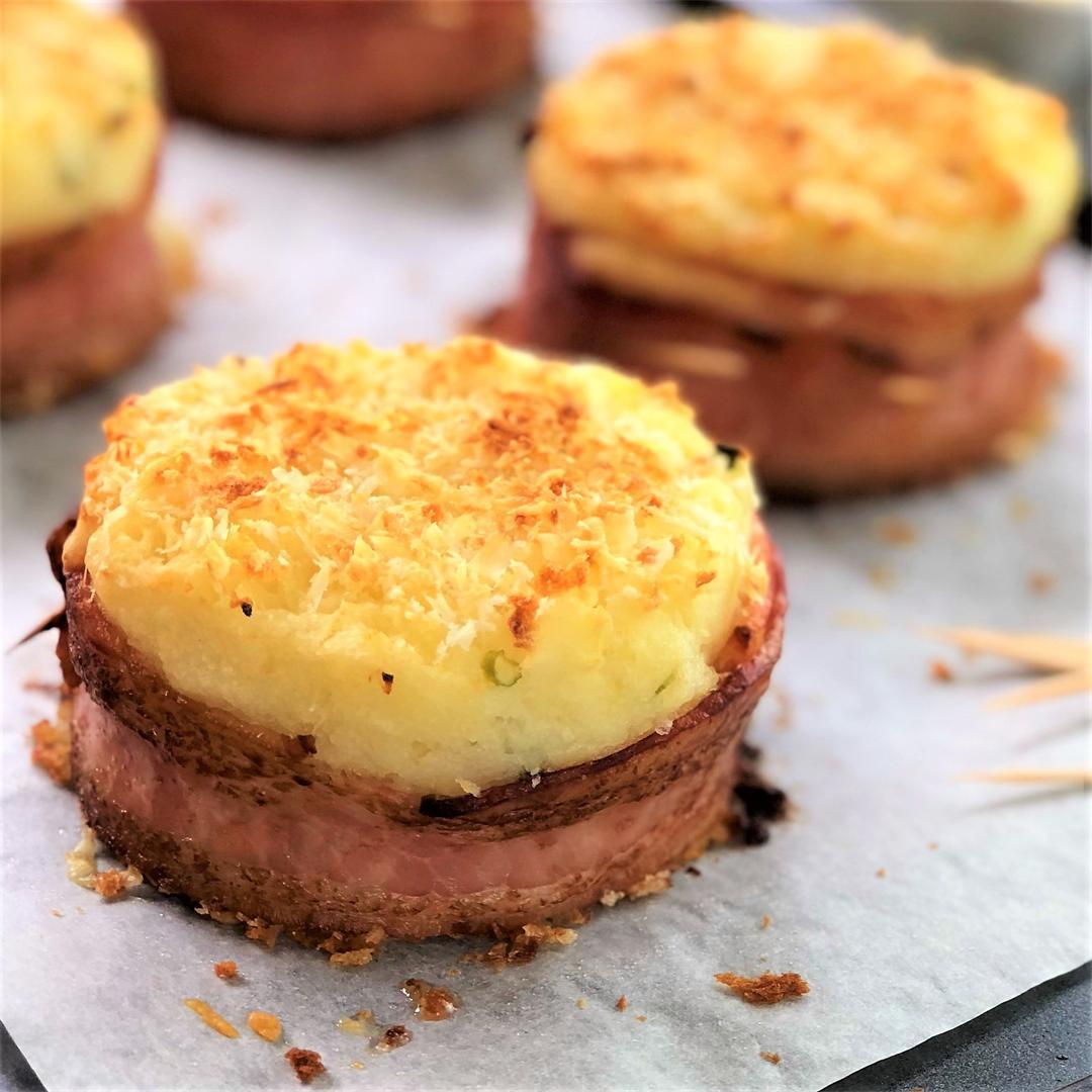 Baked Mashed Potato Cakes with Bacon